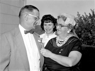G'town Am. Legion Aux. members Mrs. Bender & Mrs. Rifenburgh sell poppy to Super. Jay Moore 1962