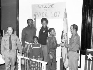 Pack 107 welcomes newest Boy Scout Hudson 1975