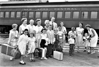 Fresh Air Group arrives at Hudson Railroad Station 1957