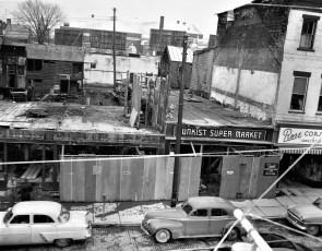 Razing  buildings for new Grand Union Warren St. Hudson 1955 (2)