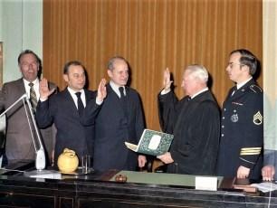 Swearing In of Col. Cty. Sheriff Appleton, Coroner Tkacy & Judge Schram 1972