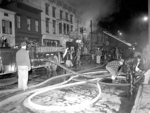Hudson Fire 311 Warren St. Lincoln Hotel & Stanton Drug Store Dec. 1956 (1)