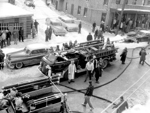 Hudson Fire North Front & Chapel St. ( where high rise is now)