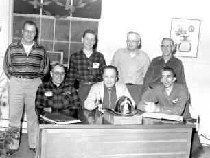 Company Officers Earl Helsley, Lyle Fingar, Vinny Funk, Dave Haraldsen, Herm Thoman, Vern Deneger, Chas. Gardner 1960