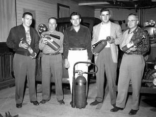 G'town firemen Bob Davis, Lyle Fingar, Fred Ahrens, Bud Bohnsack, Denegar 1950's