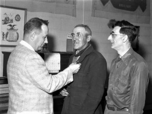 Lyle Fingar Awards 25 Year Pins to Harry Disher and Martin Funk 1961