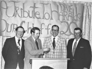 Tribute to Fire Chief Dave Haraldsen L to R Mr.Thoman, Sharpe, Haraldsen & Werner 1976