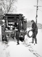 Bud Bohnsack & Harold Jennings open wire repair 1950's