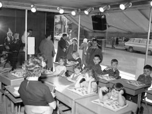Greenport School 1st Grade held in window of Morris Bern Store Hudson 1962 (1)