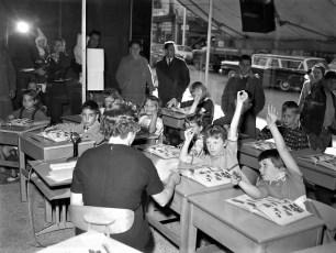 Greenport School 1st Grade held in window of Morris Bern Store Hudson 1962 (2)
