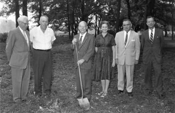 Postmaster Howard McGee breaks ground for new Post Office Copake 1960