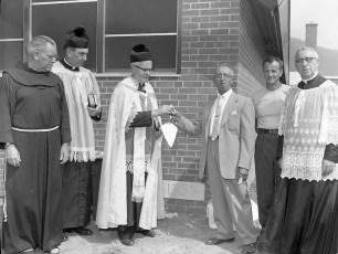 St. Bridget's Church Father Millet blessing the corner stone Copake Falls 1959 (3)
