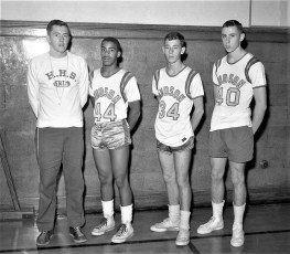 Hudson High School Basketball players with Coach Ryan 1961