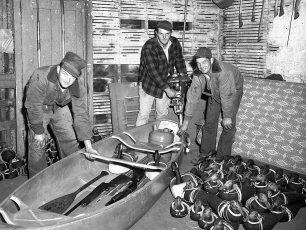 Edgar & Jack DeWitt & Billy Decker duck hunting 1952
