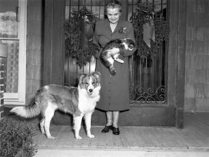 Mrs Eckert owner of Central House with pets 1952