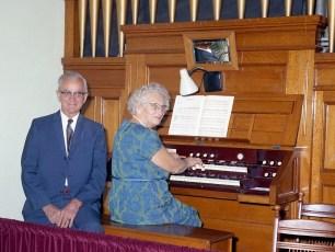 Lena Lynk at the church organ Livingston 1970
