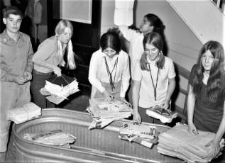 Hudson Jr. High students  recycling paper 1971