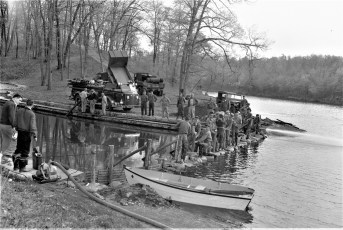 NYS National Guard working on the Oakdale Lake Lagoon Pool Hudson 1956