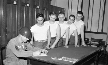 National Guardsmen prepare for inoculations Hudson 1956