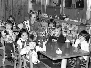 Col. Cty. Harvest Queen Nancy Eger visits St. Mary's Academy 1977