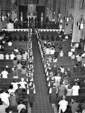 St. Mary's Acadamy seniors at St. Mary's Church Hudson 1960