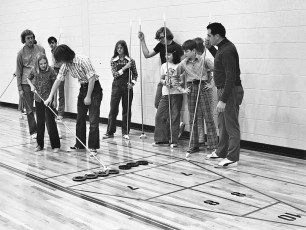 St. Mary's Academy playing shuffleboard at Col. Green Community College Hudson 1974 (1)