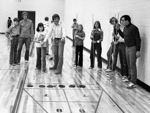 St. Mary's Academy playing shuffleboard at Col. Green Community College Hudson 1974 (2)