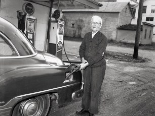 Rudy Bloom's last fill up at his Store & Filling Station 1954