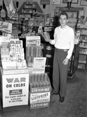 Van's Drug Store winter display with Charley Anderson G'town 1959