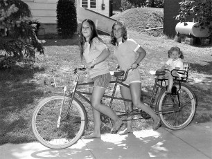 Donna Rushmore front Susan Sharpe middle Jennifer Sharpe rear G'town 1972