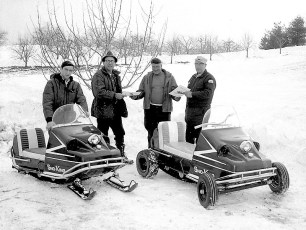 Fred & Gary Mazzacano and Lyle Fingar owners of new snow mobiles Greenport 1969 (1)