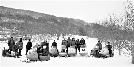 Snowmobilers at the Mazzacano Farm Greenport 1971