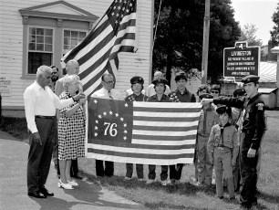 Raising Town of Livingston Bicentennial Flag June 1975