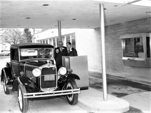 First National Bank's 1st drive thru depositor Walter Irwin 1929 Ford Red Hook 1969