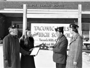 Am. Legion Minkler Seery Post donate flag to Ockawamick School Philmont 1974