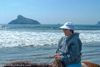 My wife, Lynn, with Isla Cardones in the background.