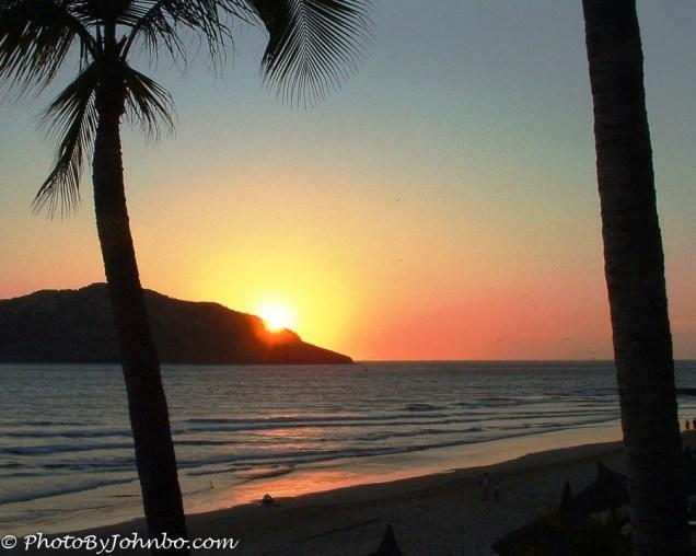 "As the sun sets behind Bird Island, we say ""Adios"" to Mazatlan."