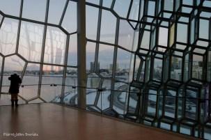 La ville depuis le centre de congrès et auditorium Harpa, Reykjavik, Islande