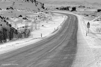 Route vers Myvatn, Islande, Mars 2016