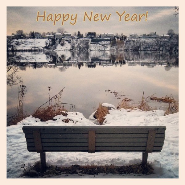 Happy New Year Park Bench Nature Park River