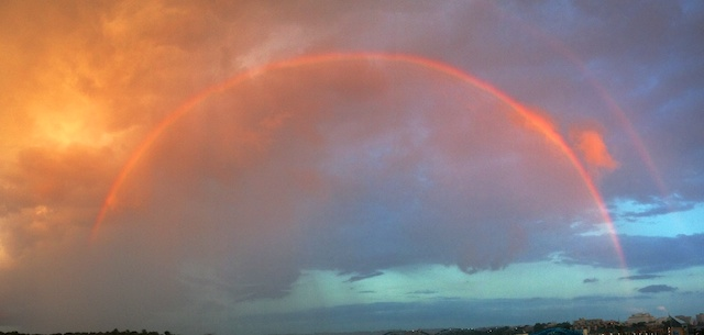 Rainbows are so unpredictable. You don't know when they will appear or how long they will last. iPhone 4S panoramic.