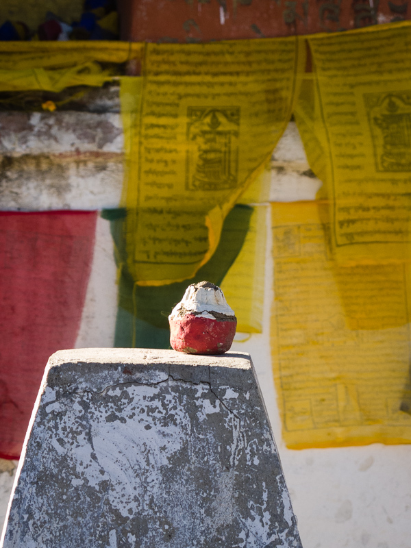 Chorten offering and prayer flags, Thrumshing La Pass