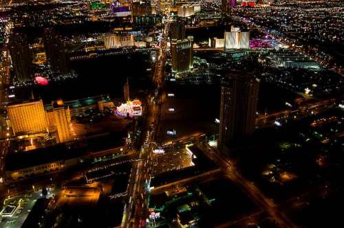 The Vegas strip, from the air.