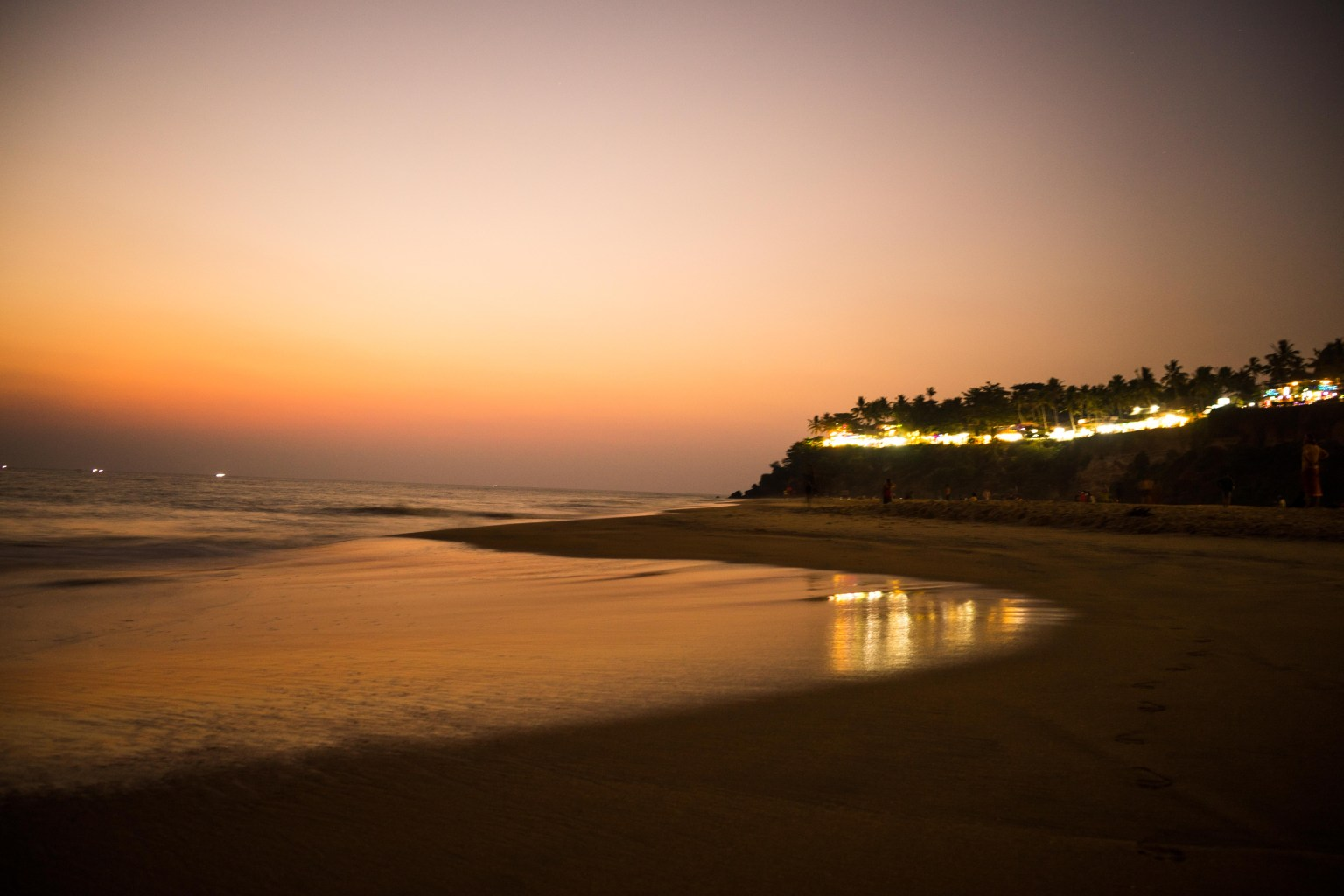 Varkala cliff at the late evening in orange light