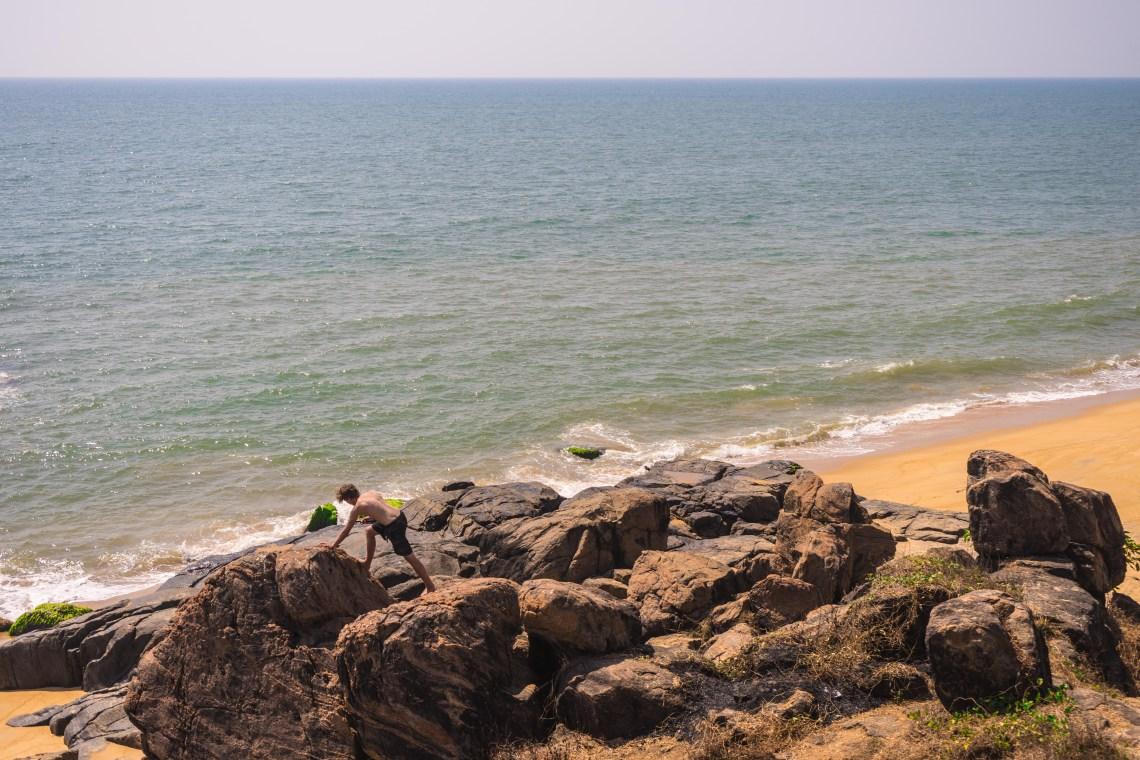 Boulders and big rocks lying on a beach