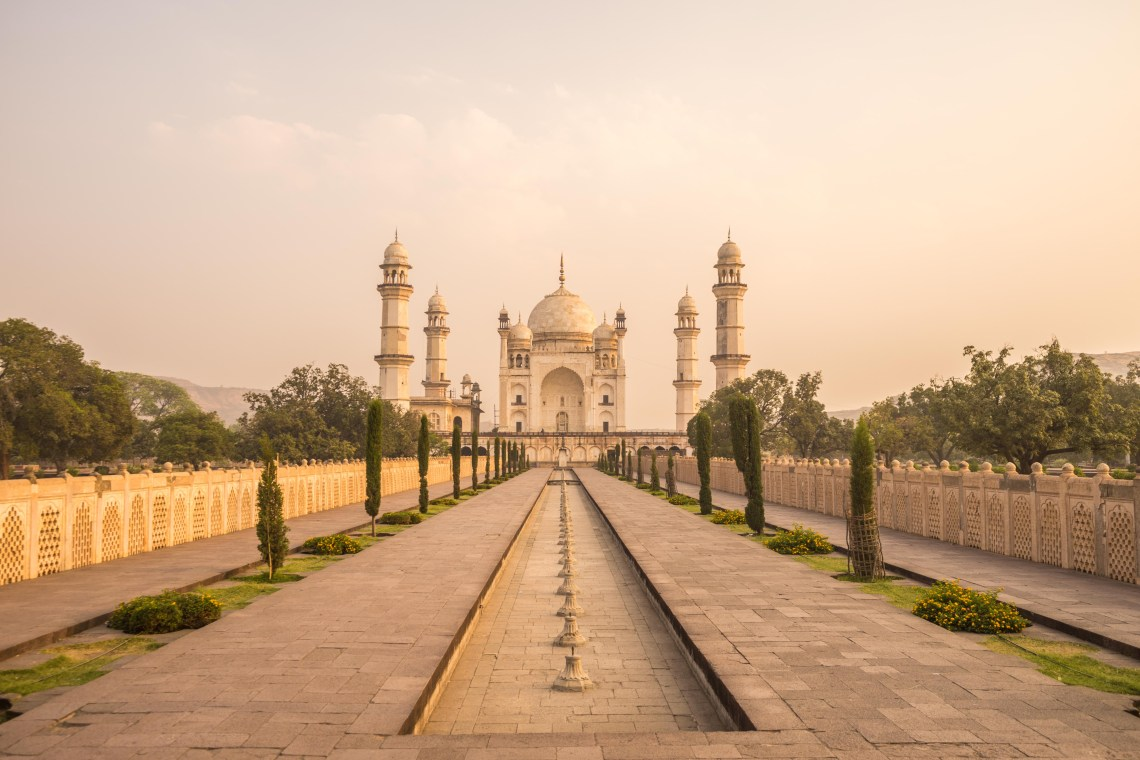 A view onto the Bibi ka Maqbara and the surrounding park in Aurangabad, India