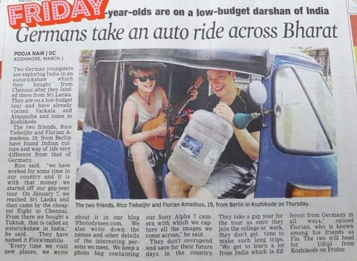 A newspaper article telling the story of our crazy tuk tuk adventure
