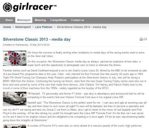 girlracer siverstone classic