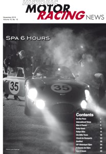 Cover of Historic Motor Racing News November 2010 of Spa 6 Hours race featuring the Aston Martin driven by Fisken, Freidrichs and Clark.