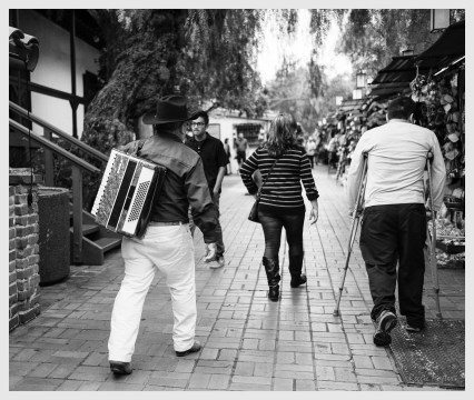 The Accordian Player, Olivera Street, Los Angeles, CA, ©2016 Reginald Foster, All Rights Reserved